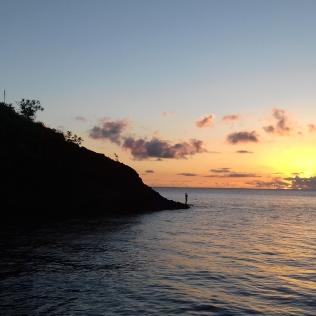 Couché de soleil à Anse Noire